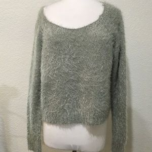 Decree Sweater XL Gray Shimmer Furry Slouchy Crop